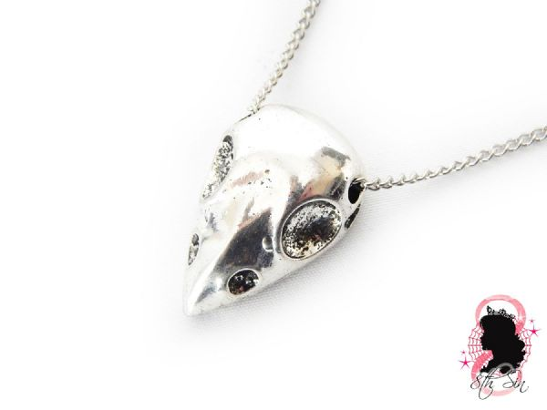 Antique Silver Owl Skull Necklace